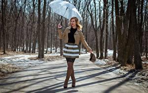 Hintergrundbilder Frühling Wege Victoria Borodinova Regenschirm Hand Jacke Rock Bein Stiefel Mädchens