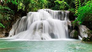 Hintergrundbilder Thailand Tropen Park Wasserfall Kanchanaburi Natur