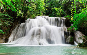 Hintergrundbilder Thailand Tropen Park Wasserfall Kanchanaburi