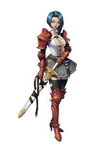 Bilder Krieger Weißer hintergrund Schwert Rüstung Soyun Won, Red Knight Fantasy Mädchens