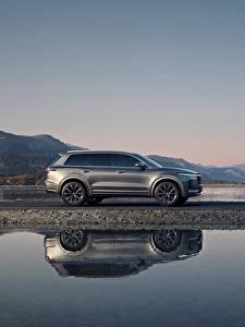 Desktop hintergrundbilder Wasser Softroader Graues Metallisch Seitlich Spiegelt Chinesisch Lixiang ONE, 2020 auto
