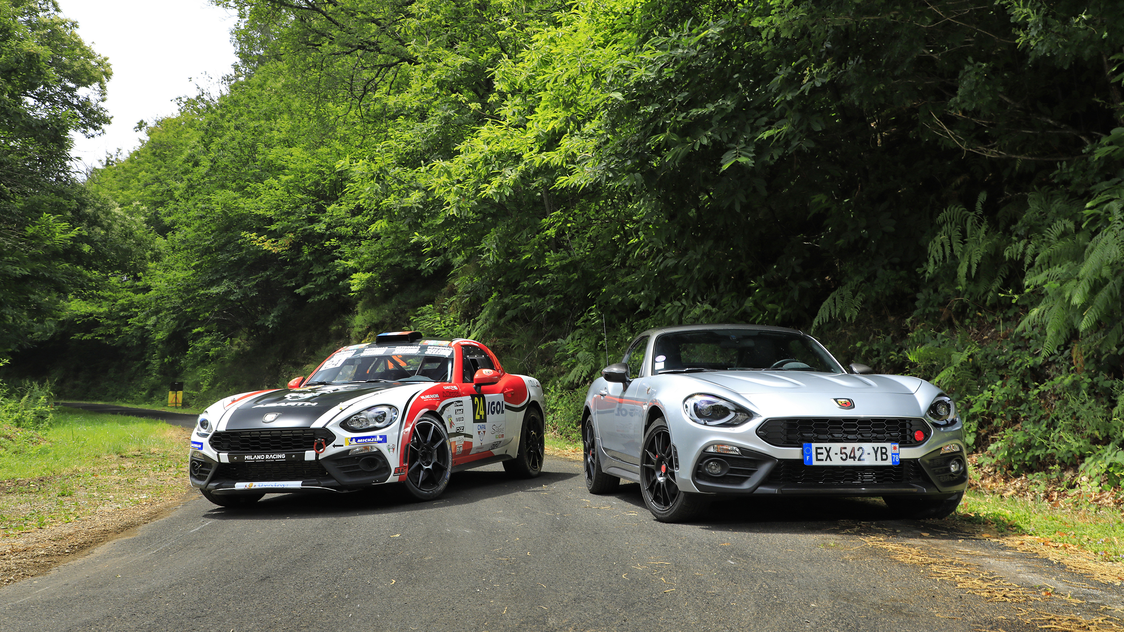 Image Fiat Tuning Abarth 124 Two Cars 3840x2160