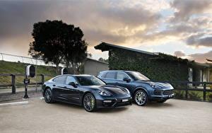 Fotos Porsche Zwei Metallisch Grau Hybrid Autos Panamera Turbo S E-Hybrid, Cayenne E-Hybrid automobil