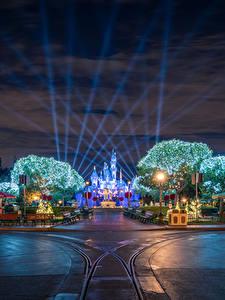 Bilder USA Disneyland Park Wege Kalifornien Anaheim Design Nacht Straßenlaterne