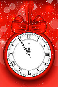 Photo New year Clock Red background Bowknot