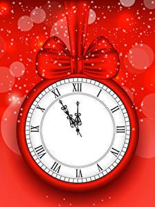 Bilder Neujahr Uhr Roter Hintergrund Schleife