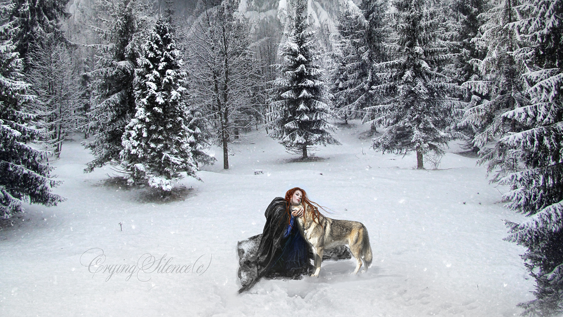 Images Wolves Winter Spruce Fantasy Snow 1920x1080
