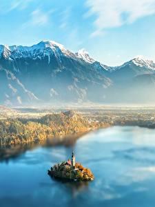 Fotos Slowenien Morgendämmerung und Sonnenuntergang Gebirge Insel Landschaftsfotografie Nebel Von oben Lake Bled Natur