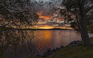 Fotos USA Flusse Sonnenaufgänge und Sonnenuntergänge Steine Bäume Ast Meredith Bay Natur