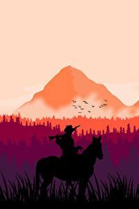Hintergrundbilder Gebirge Wälder Pferd Red Dead Redemption 2 Silhouetten arthur morgan computerspiel