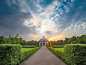 Pictures Munich Germany Parks Sunrises and sunsets Path Bush Design English garden