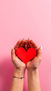 Bilder Valentinstag Farbigen hintergrund Hand Maniküre Herz
