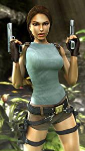 Hintergrundbilder Tomb Raider Anniversary Pistolen Lara Croft Mädchens 3D-Grafik