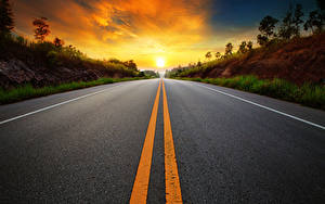 Fotos Sonnenaufgänge und Sonnenuntergänge Straße Asphalt Strips Natur