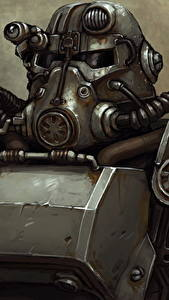 Fotos Fallout Krieger Rüstung Helm Brotherhood of Steel Spiele Fantasy
