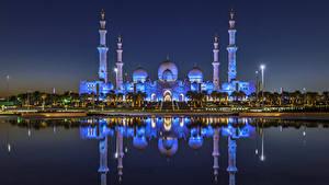 Fotos VAE Gebäude Tempel Bucht Nacht Spiegelt Abu Dhabi Städte