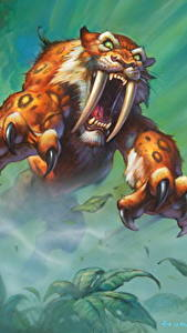 Hintergrundbilder Hearthstone: Heroes of Warcraft Alte Tiere Eckzahn Krallen Grinsen Sprung Sabretooth Stalker Spiele