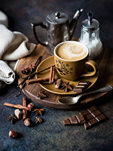 Pictures Coffee Chocolate Cinnamon Nuts Star anise Illicium Cup