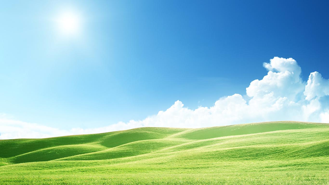壁紙 1366x768 風景写真 空 草原 丘 自然 ダウンロード 写真