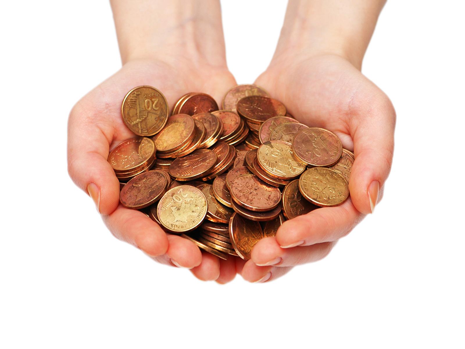 Fotos Münze Hand Geld Weißer hintergrund 1600x1200