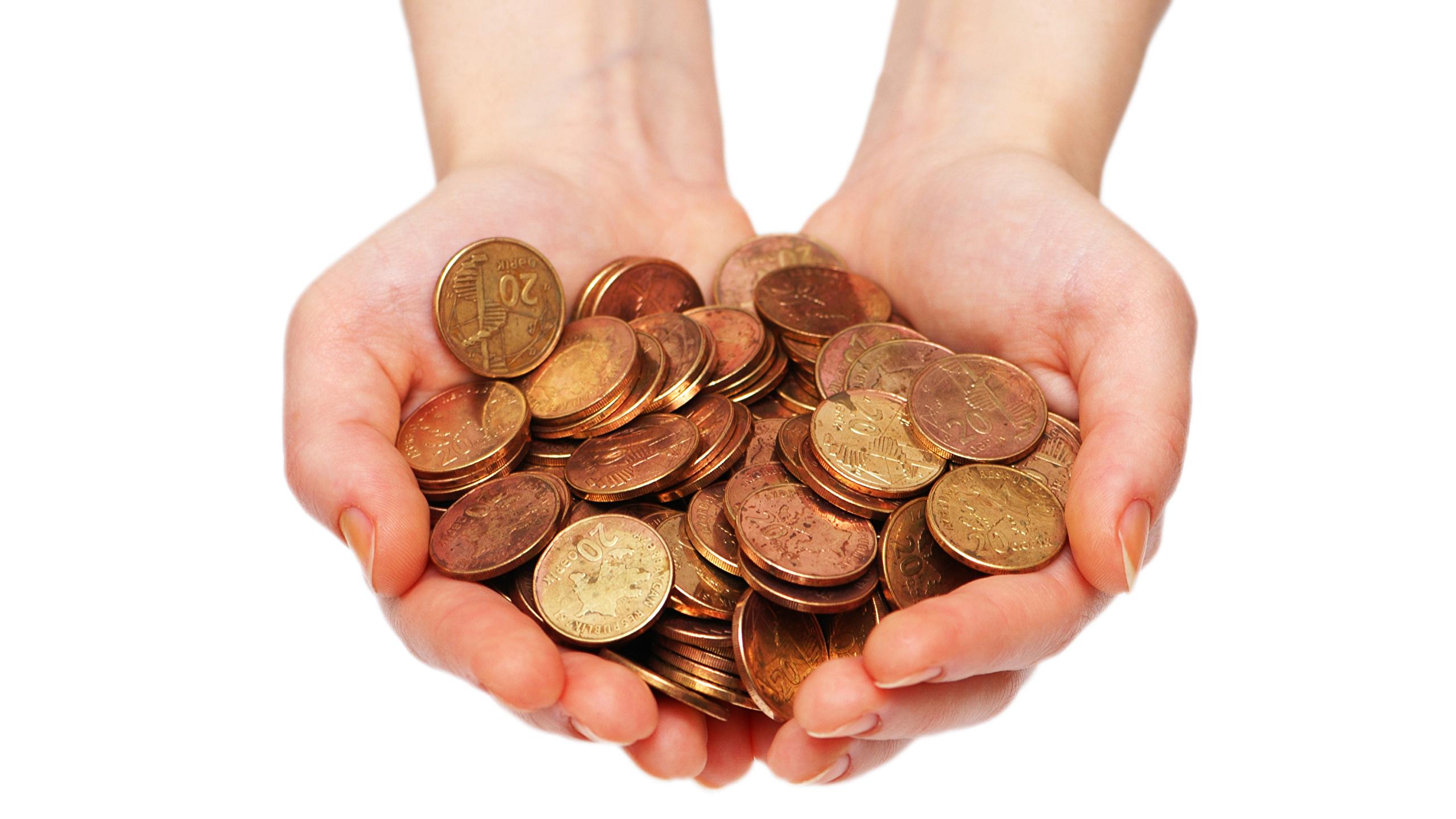 Fotos Münze Hand Geld Weißer hintergrund 2560x1440