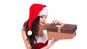 Photo Christmas White background Brown haired Winter hat Present Box Girls