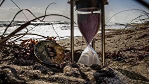 Fotos Bitcoin Geld Stundenglas Uhr Sand