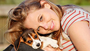 Image Dog Smile Puppies Face Glance Pretty Brown haired young woman
