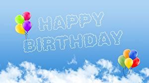 Hintergrundbilder Geburtstag Himmel Wolke Luftballons Englische