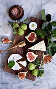 Bilder Echte Feige Birnen Käse Schneidebrett Blattwerk