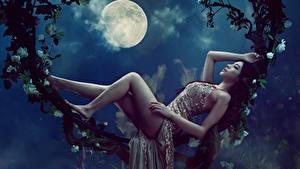Desktop hintergrundbilder Asiatische Mond Nacht Liegen Bein Schöne Kleid Model Posiert junge frau