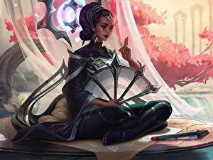 Hintergrundbilder League of Legends Sitzt Karma Spiele Mädchens Fantasy