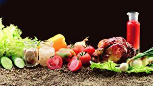 Desktop hintergrundbilder Gemüse Tomate Knoblauch Gurke Hühnerbraten Weckglas das Essen