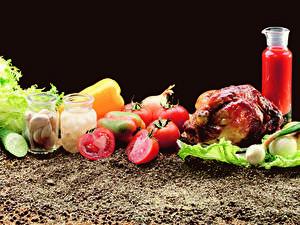Hintergrundbilder Gemüse Tomate Knoblauch Gurke Hühnerbraten Weckglas das Essen