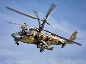 Hintergrundbilder Hubschrauber Russischer Flug Ka-52 Alligator