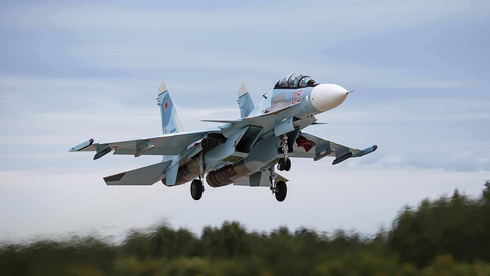 Pictures Sukhoi Su-30 Fighter Airplane Airplane take off 1920x1080