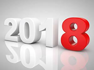 Hintergrundbilder Neujahr Grauer Hintergrund 2018 3D-Grafik