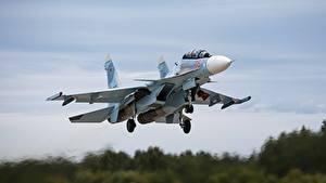 Fotos Flugzeuge Jagdflugzeug Soukhoï Su-30 Start Luftfahrt Flug Russische SM Luftfahrt