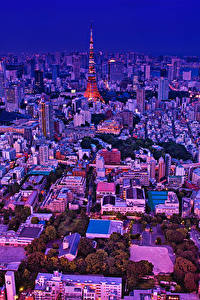 Hintergrundbilder Japan Präfektur Tokio Gebäude Abend Megalopolis