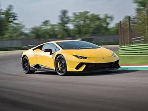 Hintergrundbilder Lamborghini Gelb Bewegung Huracan Performante