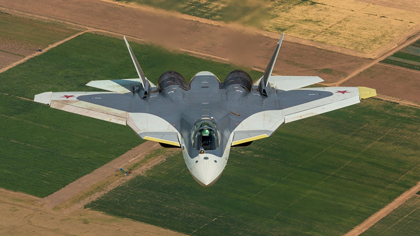 Picture Fighter Airplane Airplane Russian Sukhoi Su 57 T 50 1366x768 Images, Photos, Reviews