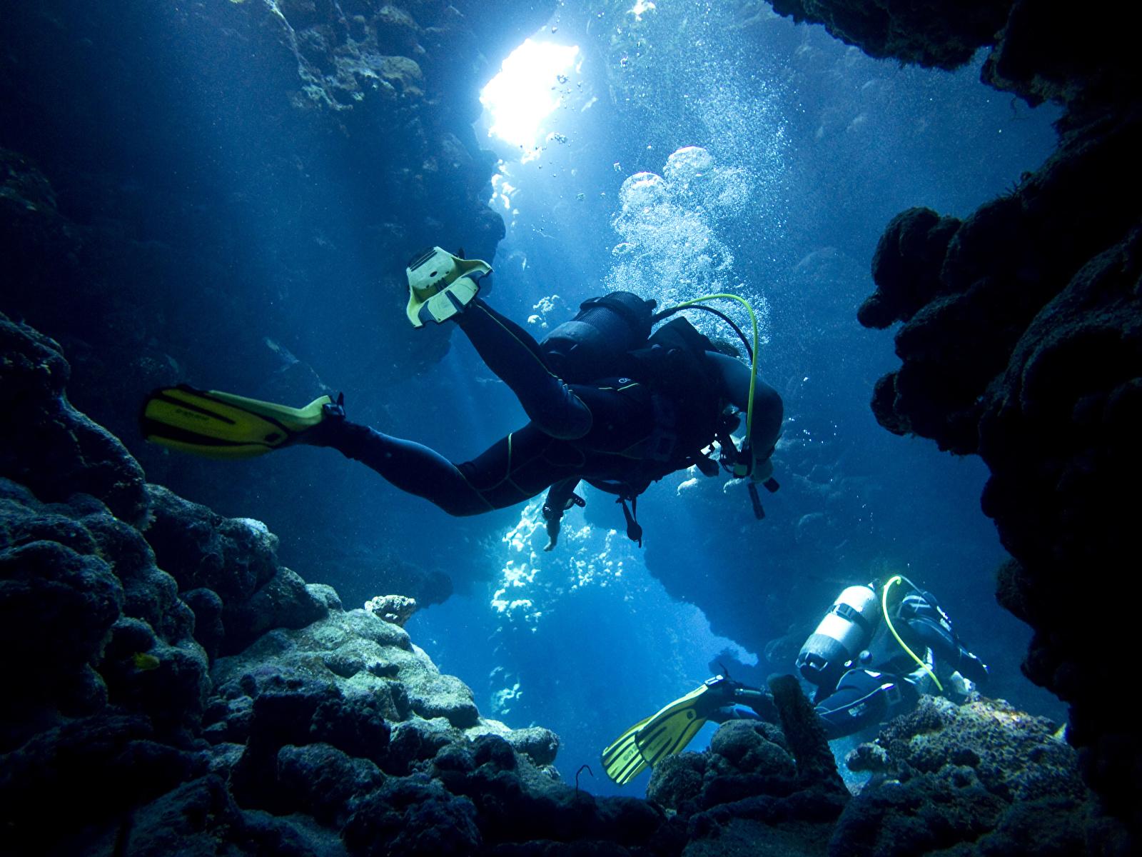 Fonds Decran 1600x1200 Plongée Sous Marine Eau Grotte