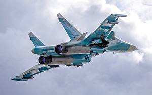 Picture Airplane Fighter Airplane Flight Sukhoi Su-34 Russian Aviation