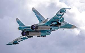 壁纸、、飛行機、戦闘機、飛翔、Su-34、ロシアの、航空