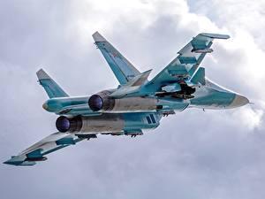 Bilder Flugzeuge Jagdflugzeug Flug Suchoi Su-34 Russische Luftfahrt