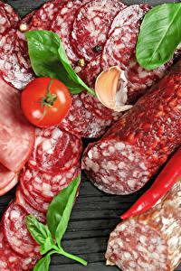 Bilder Fleischwaren Wurst Tomate Peperone Geschnitten