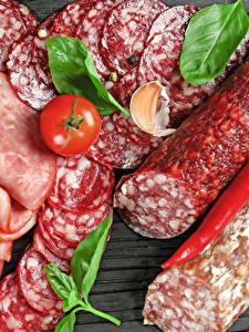 Bilder Fleischwaren Wurst Tomate Paprika Geschnitten