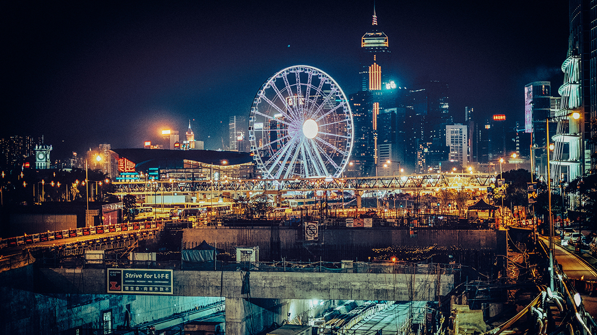 Pictures Hong Kong China Ferris Wheel Night Cities Houses 1920x1080