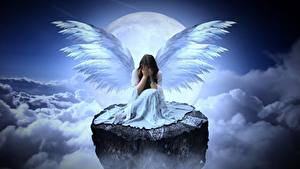 Picture Angels Clouds Moon Cliff Sitting Wings Gloomy Fantasy Girls