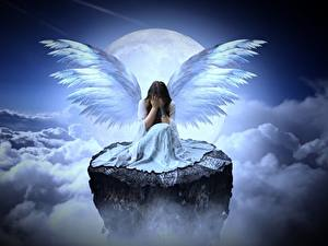 Picture Angels Clouds Moon Cliff Sitting Wings Sadness Fantasy Girls